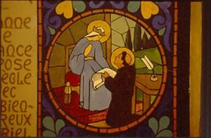 Peinture murale, le Bx Gabriel-Maria montre la Règle de vie de l'Annonciade qu'il vient d'écrire à Ste Jeanne de France, monastère de l'Annonciade, Thiais