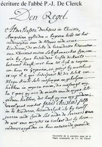 Ecriture de l'Abbé De Clercq, Fondateur des Annonciades apostoliques