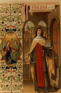 Sainte Jeanne de France en fondatrice, dessin peint, 19è siècle.