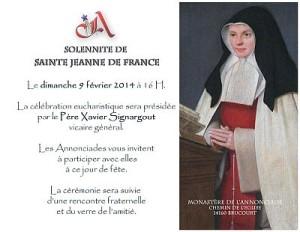 invitation à la solennité de Sainte Jeanne de France au monastère de Brucourt 2014