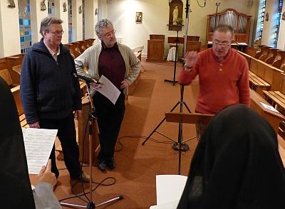 Philippe Robert, Philippe Malidin et Bertrand Lemaire au monastère de l'Annonciade de Thiais