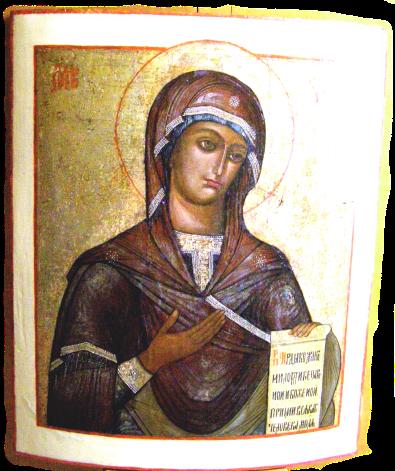 Une icône de la vierge pour le mois de Marie à l'Annonciade