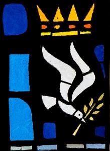 Détail d'un vitrail de la chapelle du Monastère de l'Annonciade de Thiais