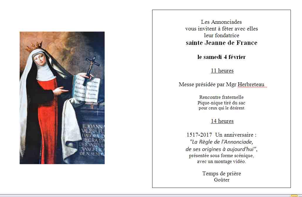 Fête de Sainte Jeanne à Villeneuve sur Lot : «La Règle de l'Annonciade, de ses origines à aujourd'hui».